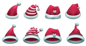 Set red santa hat isolated on white. Vector cartoon illustration Royalty Free Stock Images
