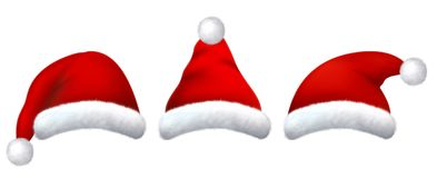 Set of red santa hats with realistic fur. New Year and Christmas wear. 3D illustration stock illustration