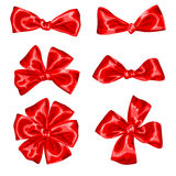 Set of red satin gift bows and ribbons Royalty Free Stock Photo