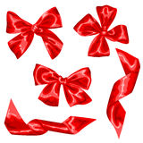 Set of red satin gift bows and ribbons.  Stock Images