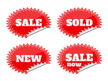 Set of red seals stickers with sale text Royalty Free Stock Photo