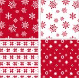 Set of red seamless snowflake pattern Stock Image