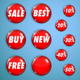 Set of red shiny buttons on sale. Set of red shiny buttons from glass for web design. With inscriptions on sales and discounts Royalty Free Stock Image