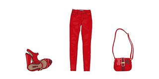 Set of red shoes, Lady's bag, jeans. isolated on white. Vector. royalty free illustration