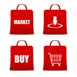Set of red shopping bags for intrenet Royalty Free Stock Photos