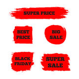 Set of red signs with the text `Best Price`, `Super Sale`, `Big Sale`, `Black Friday`. Stock Photo