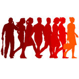 Set red silhouettes of beautiful man and woman on white background. Vector illustration Stock Photos