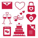 Set of red silhouettes icons for decorating and design of congratulation for Valentine`s Day. Vector illustration stock illustration