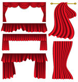 Set of red silk curtains Stock Photo