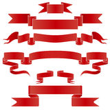 Set of red and silver  ribbon Stock Photos