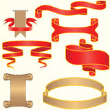 Set of red and silver vector ribbon Stock Photo