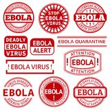 Set of red stamp with Ebola concept text on white. Background. Vector illustration for warning informing about deadly virus disease Royalty Free Stock Image