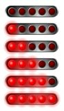 Set of red start lights. Contains five bulb Stock Images