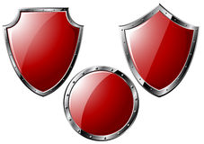 Set of red steel shields Royalty Free Stock Image