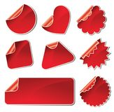 Set of red stickers Royalty Free Stock Photography