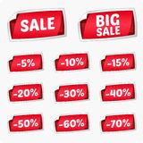 Set of red stickers for discount. Royalty Free Stock Images