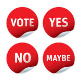 Set of red  stickers - Vote, Yes, No, Maybe Royalty Free Stock Images