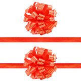 Set of red striped gift bow and ribbons Stock Photography