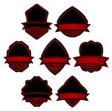 Set of red striped labels Royalty Free Stock Photography