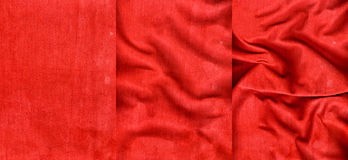 Set of red striped suede leather textures Stock Photos