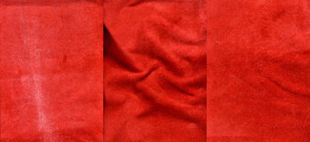 Set of red suede leather textures. For background Royalty Free Stock Photos