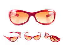 Set of red sunglasses Stock Photos