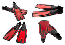 Set of red swim fins for diving Stock Photo