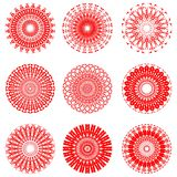 A set of red symmetric circle patterns in filigree lace design Royalty Free Stock Photography