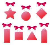 Set of red tags with bows and handlers. Isolated on white background. Vector illustration royalty free illustration