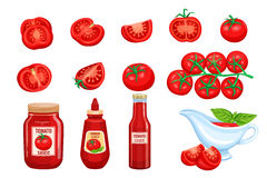 Set red tomato vegetables sauce Stock Photography