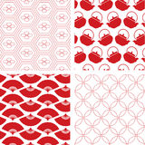 Set of 4 red traditional seamless Japanese patterns Stock Photos