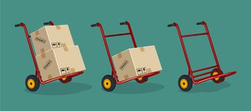 Set of red trolleys with carton boxes on a flat background stock illustration