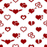 Set of red valentine hearth love symbols seamless pattern Stock Photo