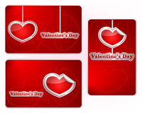 Set of red Valentine's Day gift cards Royalty Free Stock Photos