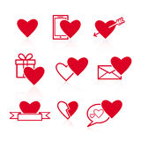 Set of red Valentines icons on white background Royalty Free Stock Photography