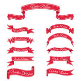 Set of red vector banner ribbons. Stock Photos
