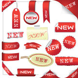 Set of red elements for new items Royalty Free Stock Photography