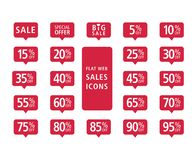 Set of red web flat sales icons vector illustration