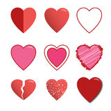 Set of red vector hearts icons. 9 hearts Royalty Free Stock Image