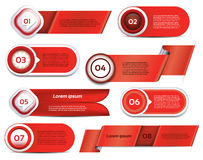 Set of red vector progress, version, step icons Royalty Free Stock Photo