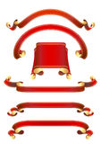 Set of  red vector ribbon banners Stock Photo