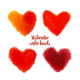 Set of red vector watercolor hearts. Set of colorful red watercolor hearts for Valentines day card. Hand drawn watercolor vector illustration. Design by flyer Royalty Free Stock Photos