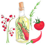 Set of red vegetables, oil in a bottle and berries Stock Images