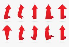 Set red velvet vector popular arrow sticker isolated origami rib vector illustration