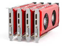 Set of red video cards Stock Photos