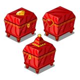 Set of red vintage metal chest isolated on white background. Vector cartoon close-up illustration. Set of red vintage metal chest isolated on white background royalty free illustration