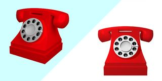 Set of red vintage phones. Telephone isolated on white background. 3d vector illustration Stock Images