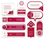 Set of red-violet vector progress. Version, step icons. eps 10 Royalty Free Stock Image