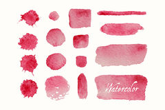 Set of red watercolor blobs and spots Royalty Free Stock Images