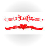 Set of red watercolor ribbons. Royalty Free Stock Photo